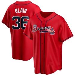Aaron Blair Atlanta Braves Men's Replica Alternate Jersey - Red