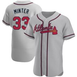 A.J. Minter Atlanta Braves Men's Authentic Road Jersey - Gray
