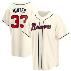 A.J. Minter Atlanta Braves Men's Replica Alternate Jersey - Cream