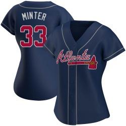 A.J. Minter Atlanta Braves Women's Authentic Alternate Jersey - Navy
