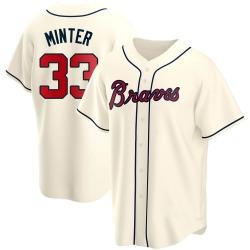 A.J. Minter Atlanta Braves Youth Replica Alternate Jersey - Cream