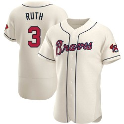 Babe Ruth Atlanta Braves Men's Authentic Alternate Jersey - Cream