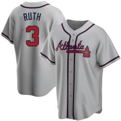 Babe Ruth Atlanta Braves Men's Replica Road Jersey - Gray