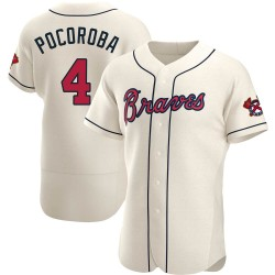 Biff Pocoroba Atlanta Braves Men's Authentic Alternate Jersey - Cream