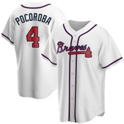 Biff Pocoroba Atlanta Braves Men's Replica Home Jersey - White