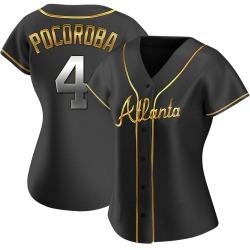 Biff Pocoroba Atlanta Braves Women's Replica Alternate Jersey - Black Golden