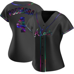 Biff Pocoroba Atlanta Braves Women's Replica Alternate Jersey - Black Holographic