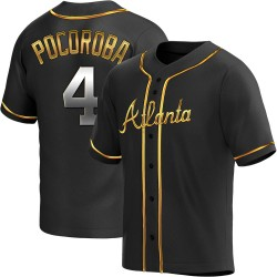 Biff Pocoroba Atlanta Braves Youth Replica Alternate Jersey - Black Golden