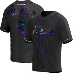 Biff Pocoroba Atlanta Braves Youth Replica Alternate Jersey - Black Holographic