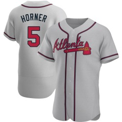 Bob Horner Atlanta Braves Men's Authentic Road Jersey - Gray