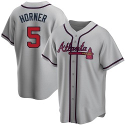 Bob Horner Atlanta Braves Men's Replica Road Jersey - Gray