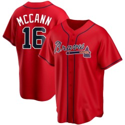Brian McCann Atlanta Braves Youth Replica Alternate Jersey - Red