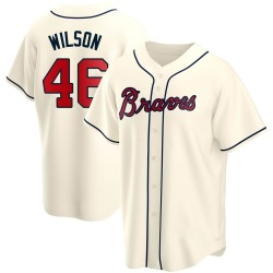 Bryse Wilson Atlanta Braves Youth Replica Alternate Jersey - Cream