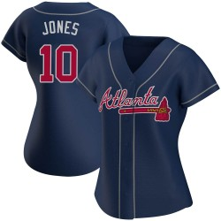 Chipper Jones Atlanta Braves Women's Replica Alternate Jersey - Navy