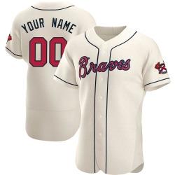Custom Atlanta Braves Men's Authentic Alternate Jersey - Cream