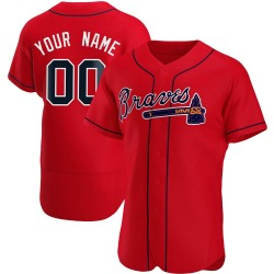 Custom Atlanta Braves Men's Authentic Alternate Jersey - Red