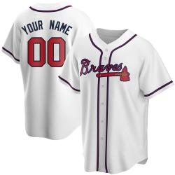 Custom Atlanta Braves Men's Replica Home Jersey - White