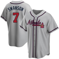 Dansby Swanson Atlanta Braves Men's Replica Road Jersey - Gray