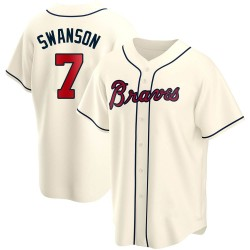 Dansby Swanson Atlanta Braves Youth Replica Alternate Jersey - Cream
