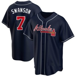 Dansby Swanson Atlanta Braves Youth Replica Alternate Jersey - Navy