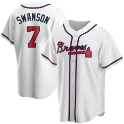 Dansby Swanson Atlanta Braves Youth Replica Home Jersey - White