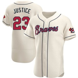 David Justice Atlanta Braves Men's Authentic Alternate Jersey - Cream