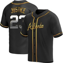 David Justice Atlanta Braves Men's Replica Alternate Jersey - Black Golden