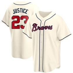 David Justice Atlanta Braves Men's Replica Alternate Jersey - Cream