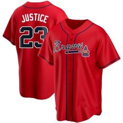 David Justice Atlanta Braves Men's Replica Alternate Jersey - Red