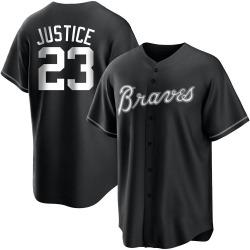 David Justice Atlanta Braves Men's Replica Black/ Jersey - White