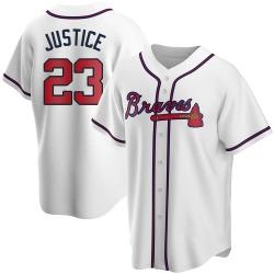 David Justice Atlanta Braves Men's Replica Home Jersey - White