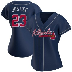 David Justice Atlanta Braves Women's Authentic Alternate Jersey - Navy