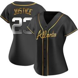 David Justice Atlanta Braves Women's Replica Alternate Jersey - Black Golden
