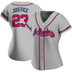 David Justice Atlanta Braves Women's Replica Road Jersey - Gray