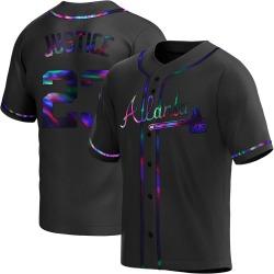 David Justice Atlanta Braves Youth Replica Alternate Jersey - Black Holographic