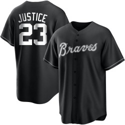 David Justice Atlanta Braves Youth Replica Black/ Jersey - White