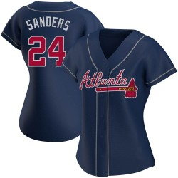 Deion Sanders Atlanta Braves Women's Authentic Alternate Jersey - Navy