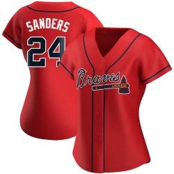 Deion Sanders Atlanta Braves Women's Replica Alternate Jersey - Red