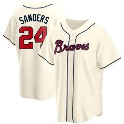 Deion Sanders Atlanta Braves Youth Replica Alternate Jersey - Cream