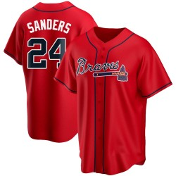 Deion Sanders Atlanta Braves Youth Replica Alternate Jersey - Red