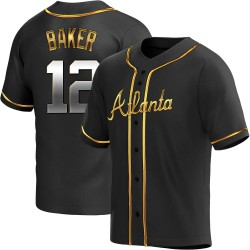 Dusty Baker Atlanta Braves Men's Replica Alternate Jersey - Black Golden