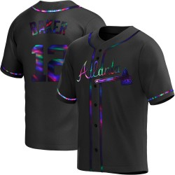 Dusty Baker Atlanta Braves Men's Replica Alternate Jersey - Black Holographic