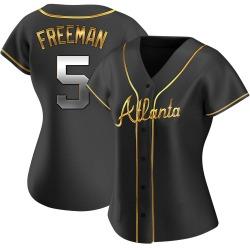 Freddie Freeman Atlanta Braves Women's Replica Alternate Jersey - Black Golden