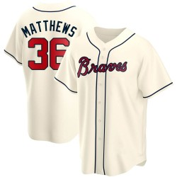 Gary Matthews Atlanta Braves Men's Replica Alternate Jersey - Cream