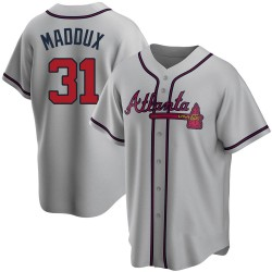 Greg Maddux Atlanta Braves Men's Replica Road Jersey - Gray