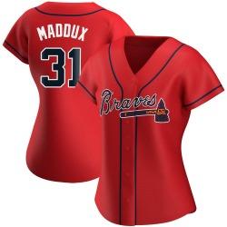Greg Maddux Atlanta Braves Women's Replica Alternate Jersey - Red