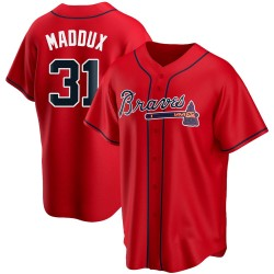 Greg Maddux Atlanta Braves Youth Replica Alternate Jersey - Red