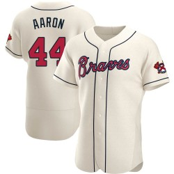 Hank Aaron Atlanta Braves Men's Authentic Alternate Jersey - Cream