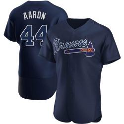 Hank Aaron Atlanta Braves Men's Authentic Alternate Team Name Jersey - Navy