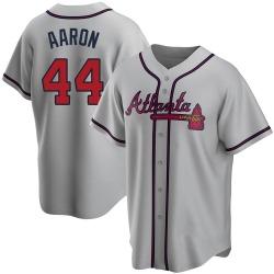 Hank Aaron Atlanta Braves Men's Replica Road Jersey - Gray